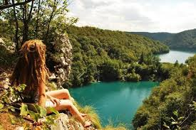 Hippie girl in nature